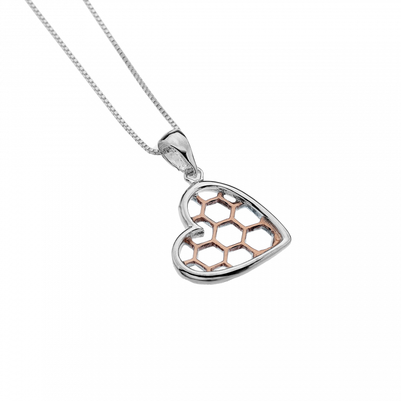 Honeycomb Heart Pendant With Rose Gold And Sterling Silver SG