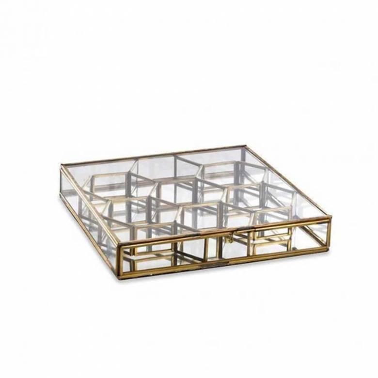 Bequai Glass And Brass Honeycomb Box