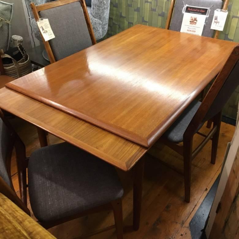 Mid Century Danish Rectangular Extending Dining Table