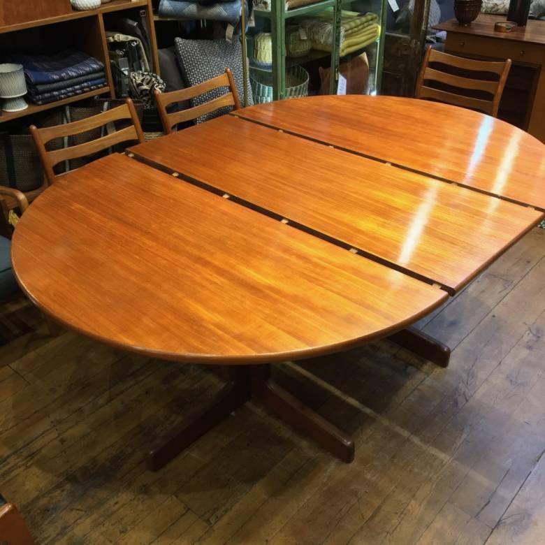 Mid Century Danish Teak Circular Extending Dining Table