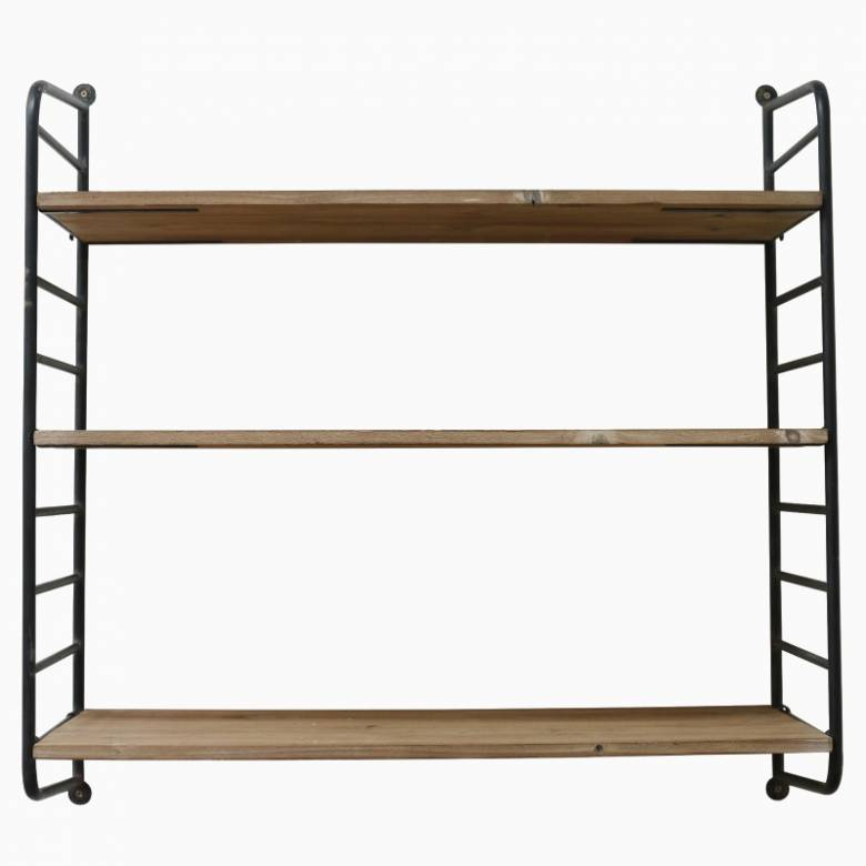 Industrial Style Chunky Iron And Wood Wall Shelves