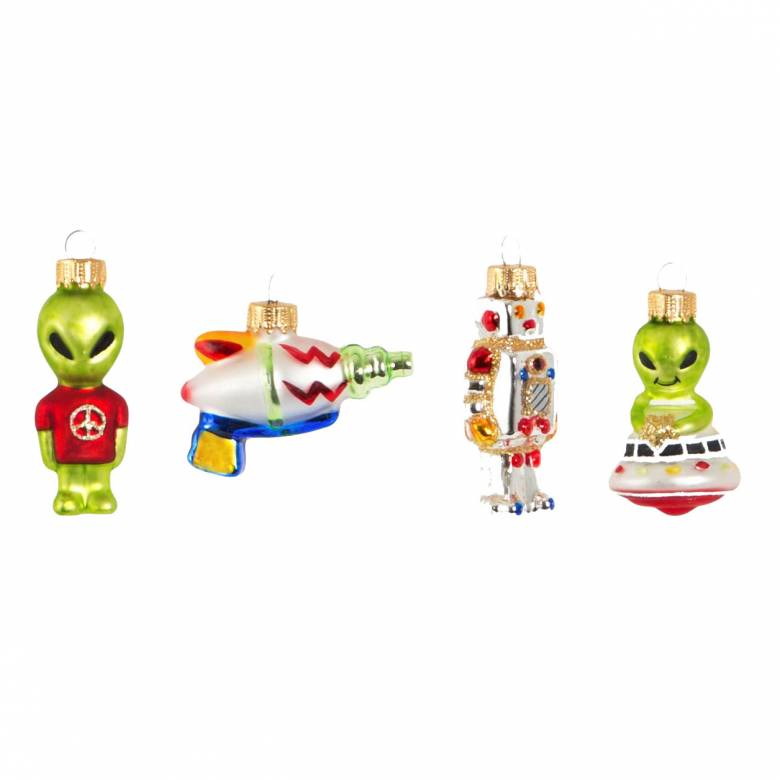 Set Of 4 Intergalactic Glass Decorations