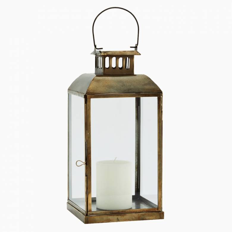 Iron And Glass Lantern In Aged Brass 17x36cm