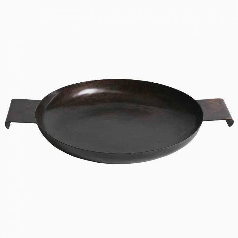 Dark Brown Circular Iron Tray With Curved Handles