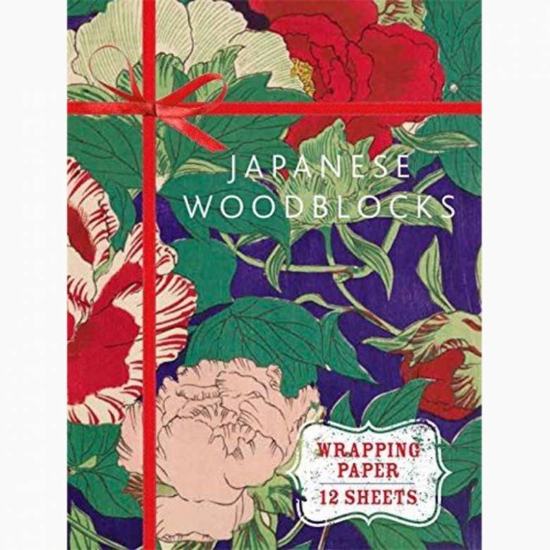 Japanese Woodblock Book Of 12 Sheets Of Wrapping Paper