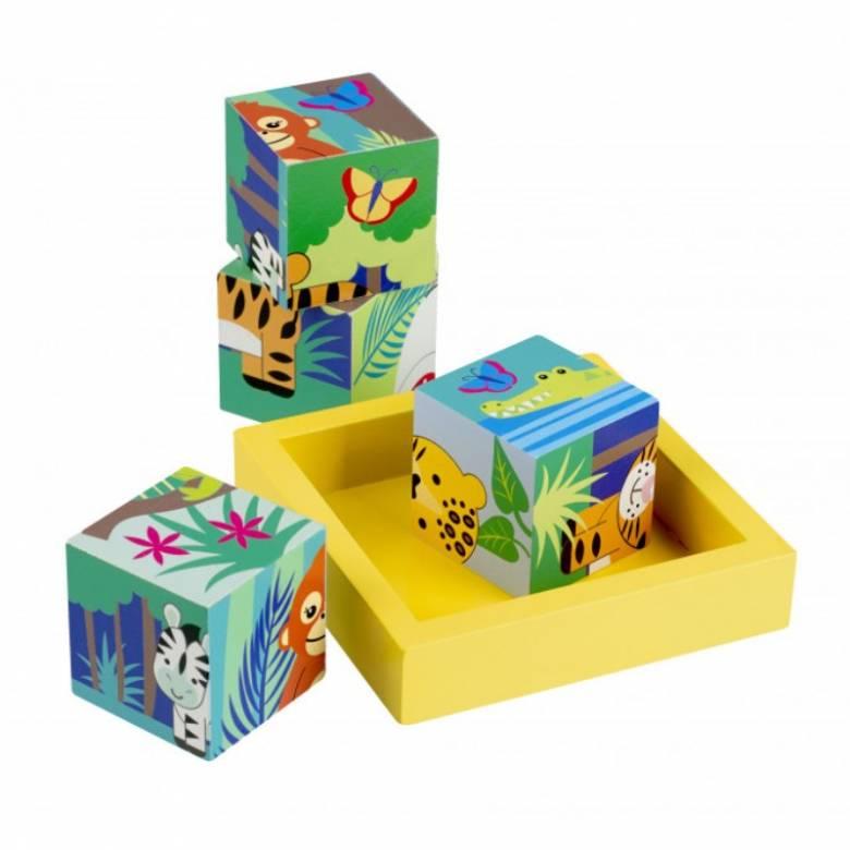 Jungle Animals Wooden Blocks In Tray By Orange Tree 1+