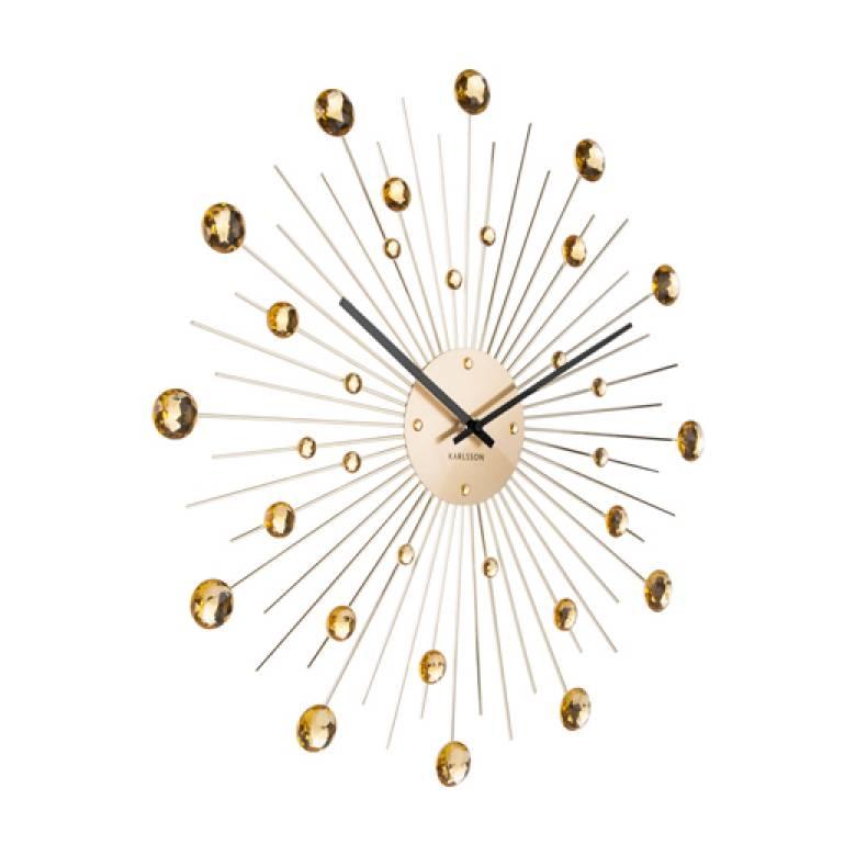 Sunburst Crystal Gold Wall Clock 50cm
