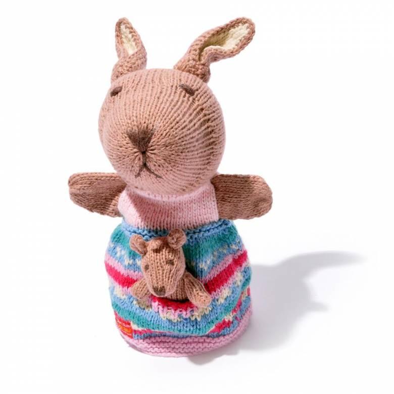 Kangaroo With Joey - Hand Knitted Glove Puppet Organic Cotton