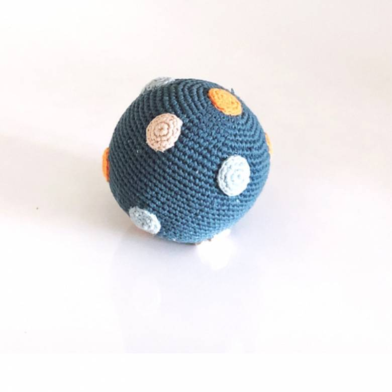 Knitted Ball Rattle In Petrol Blue 0+