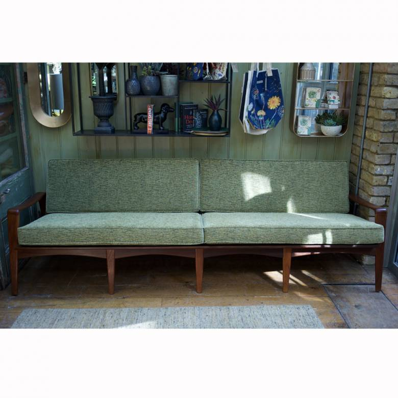 Komfort Four Seat Danish Teak Settee with Green Upholstery