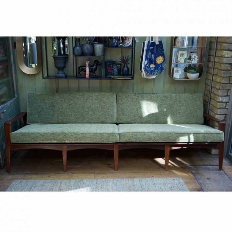 Komfort Four Seat Danish Teak Settee with Green Upholstery