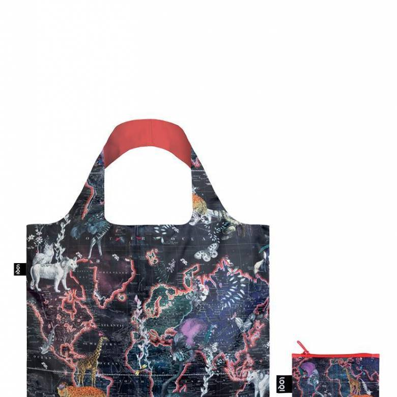 World Map - Reusable Tote Bag With Pouch