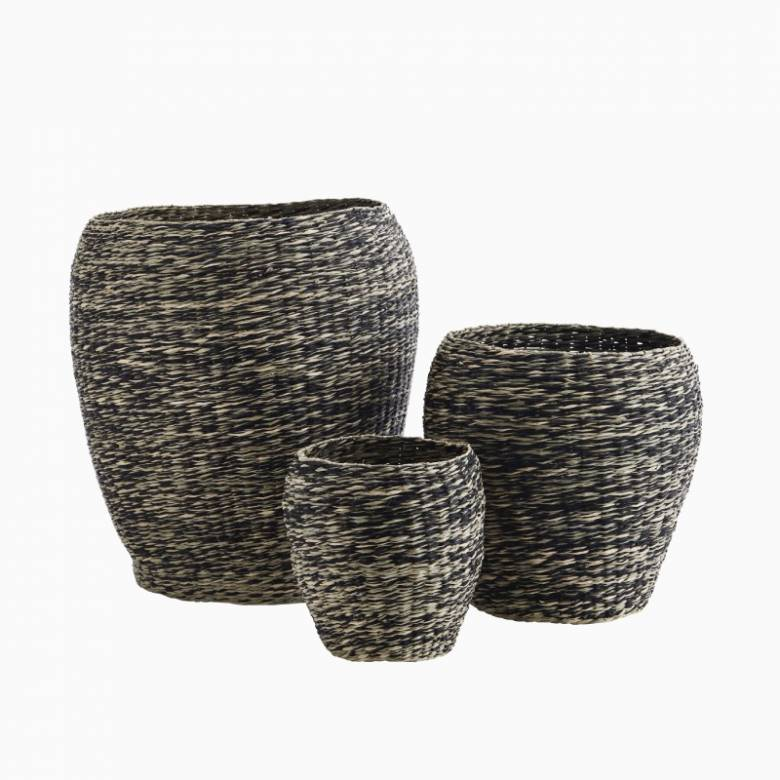 Small Black Seagrass Urn Shaped Basket 22x26cm