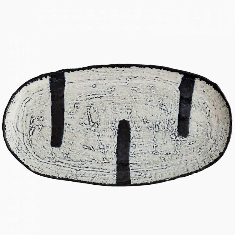 Large Blue & White Oval Stoneware Platter
