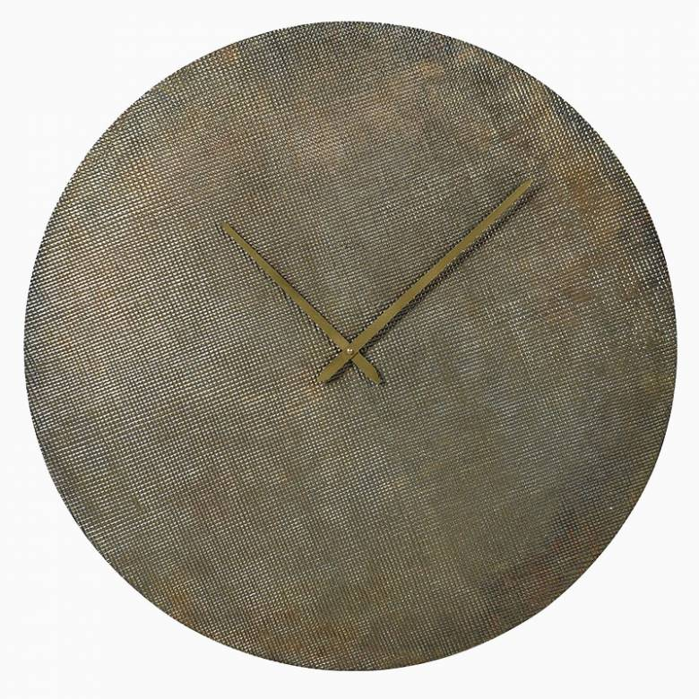 Large Antiqued Brass Round Wall Clock