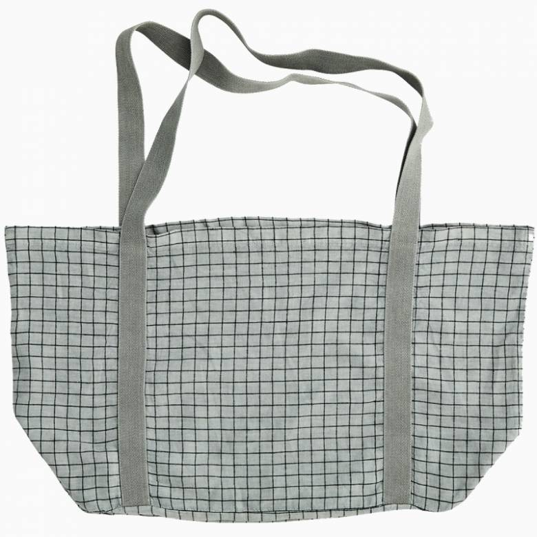 Large Checked Linen Tote Bag In Grey Mist