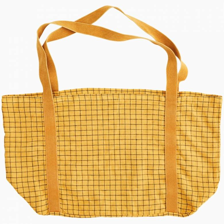 Large Checked Linen Tote Bag In Sunflower Yellow