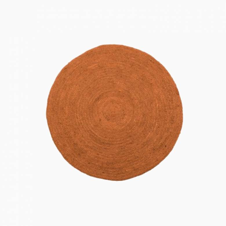 Large Circular Jute Rug In Orange D:150cm