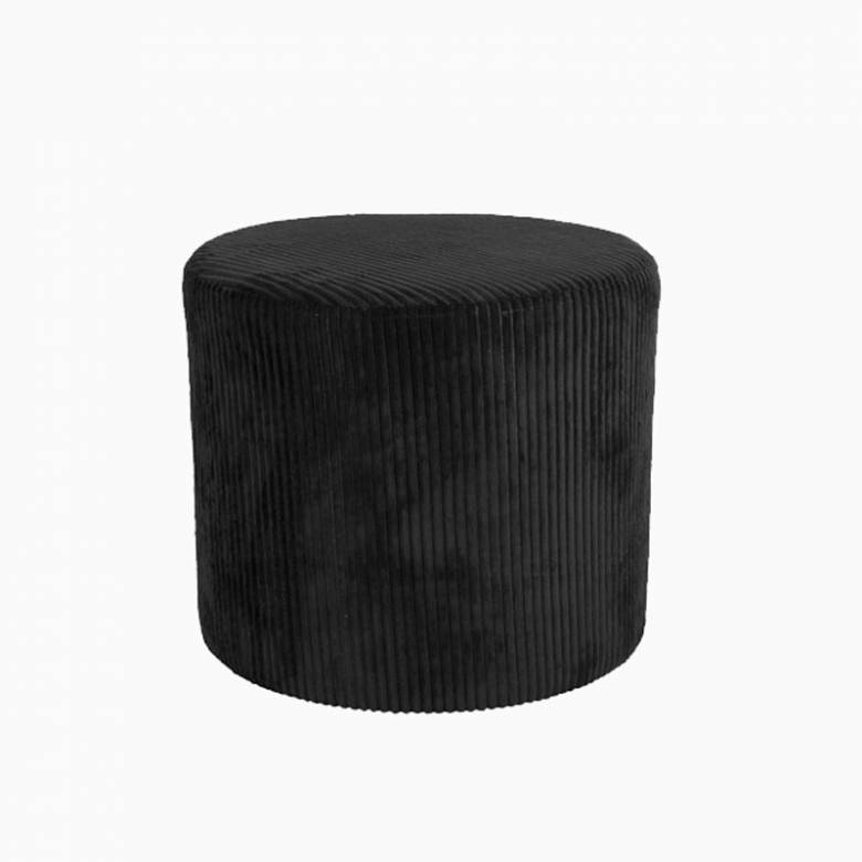 Large Corduroy Pouf In Black