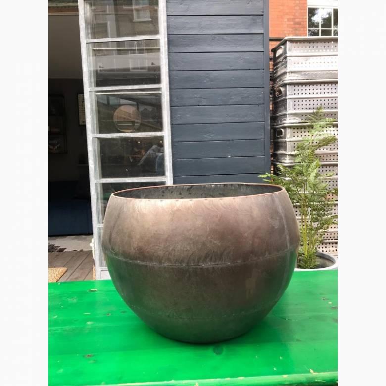 Large Curved Zinc Planter Pot