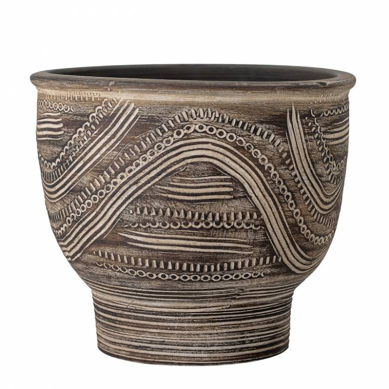 Large Decorative Carved Terracotta Curved Flowerpot