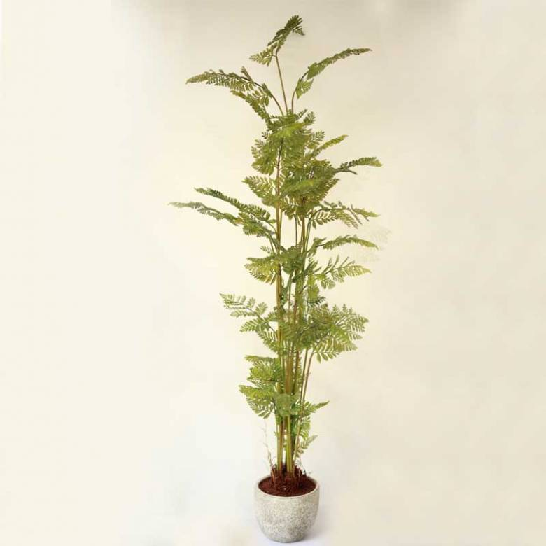 Large Faux Tall Green Bracken Fern In Pot
