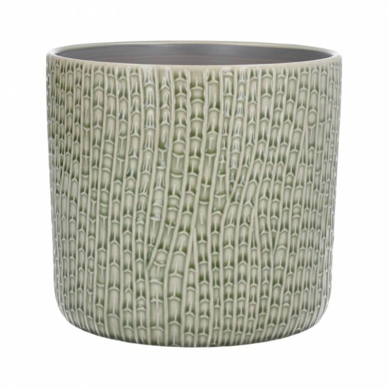 Large Horsetail Reed Ceramic Flowerpot Cover In Green