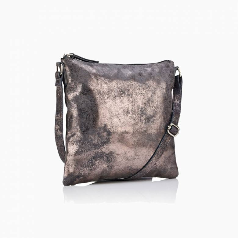 Large Leather Crossbody Bag In Pewter