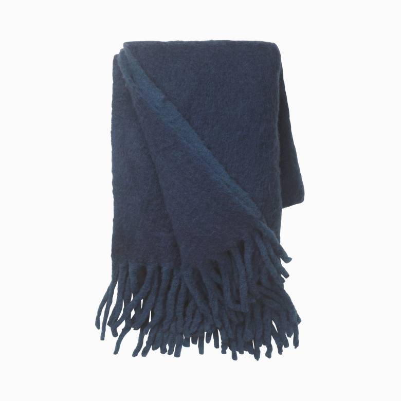 Large Mathea Blanket Throw In Midnight Blue