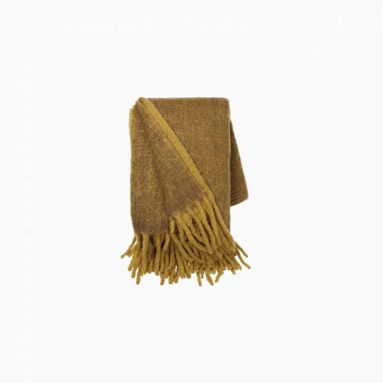 Large Mathea Blanket Throw In Mustard