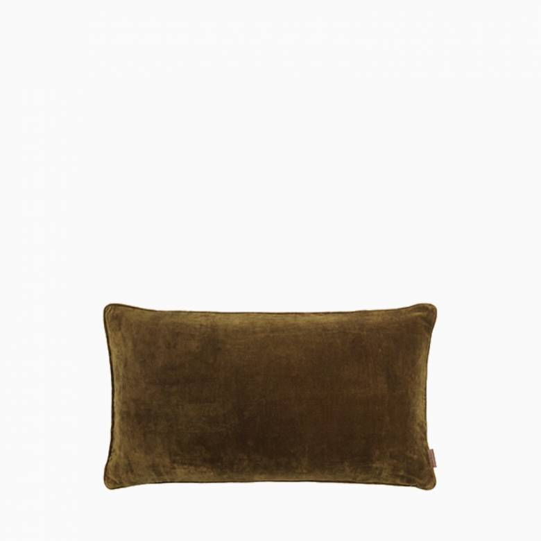 Large Rectangular Velvet Gable Cushion In Mustard
