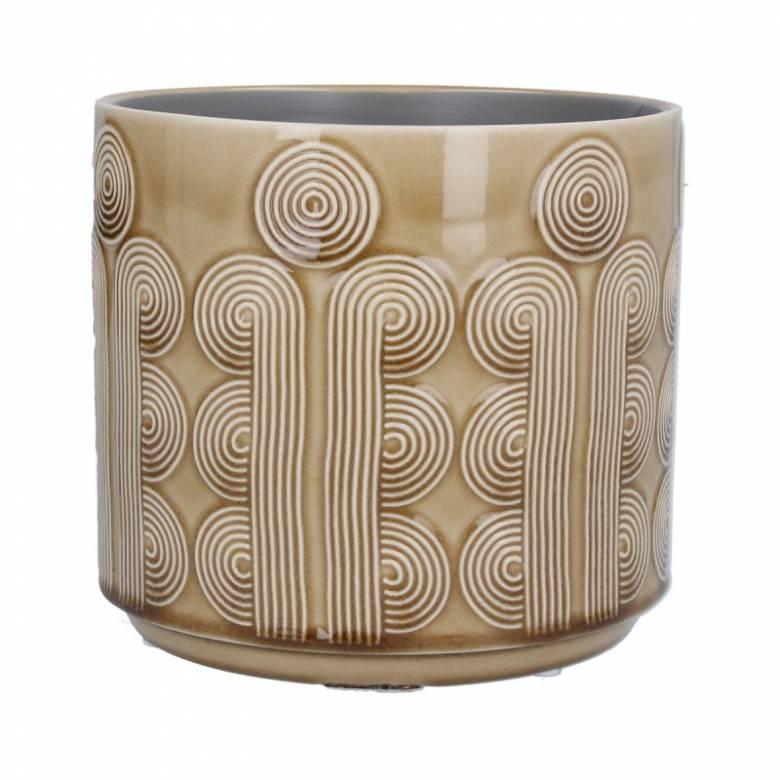 Large Retro Circles Ceramic Flowerpot Cover In Mustard