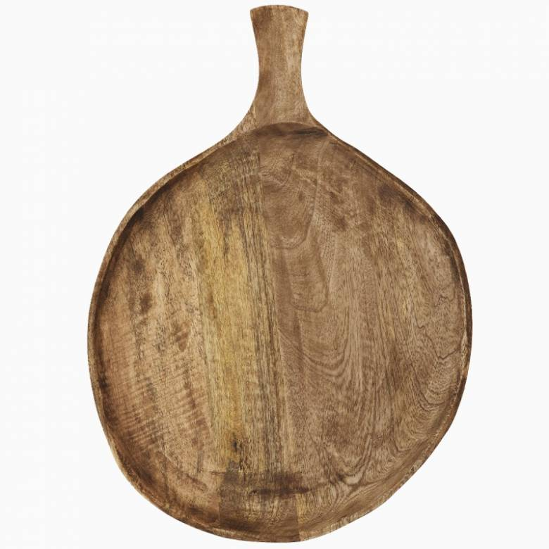 Large Round Wooden Serving Dish With Handle