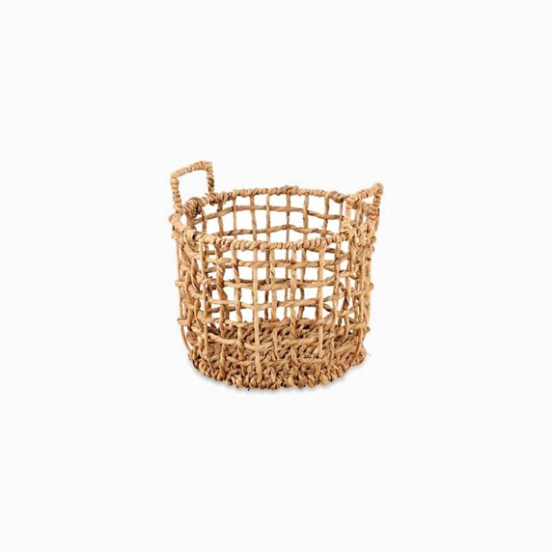 Large Round Woven Storage Basket With Handles