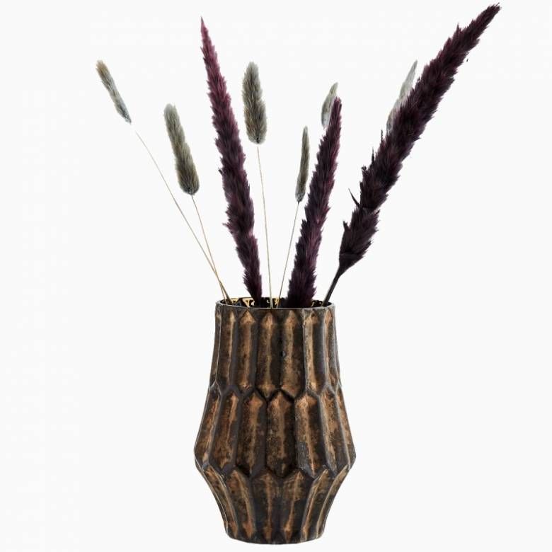 Large Textured Glass Vase In Brown H:18cm