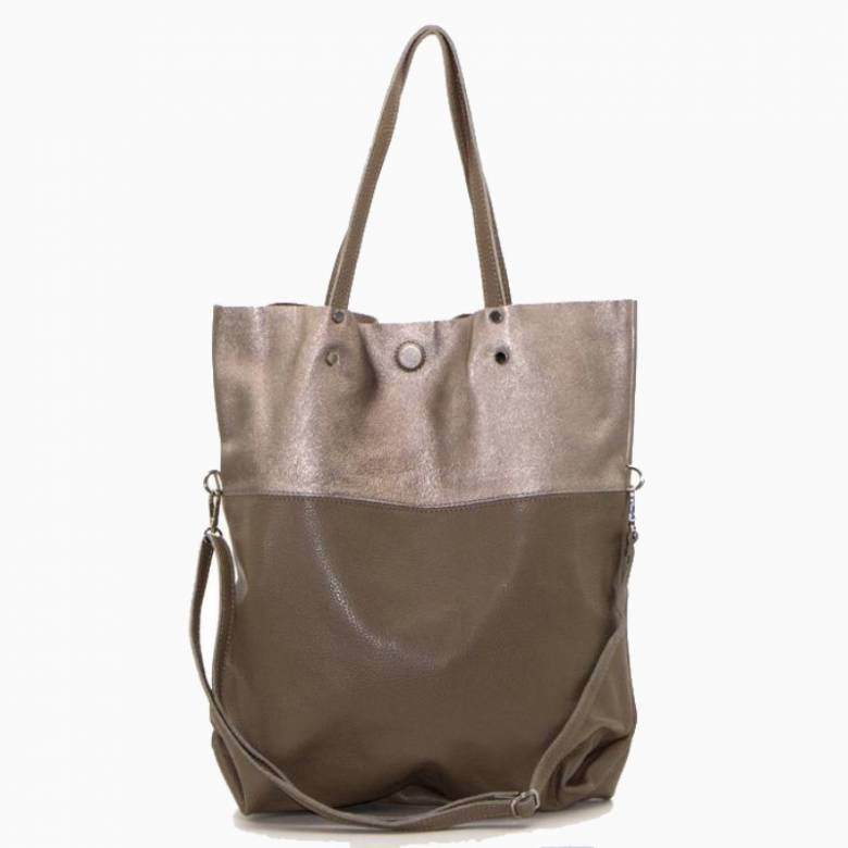 Large Two-Tone Leather Tote Bag - Taupe & Bronze