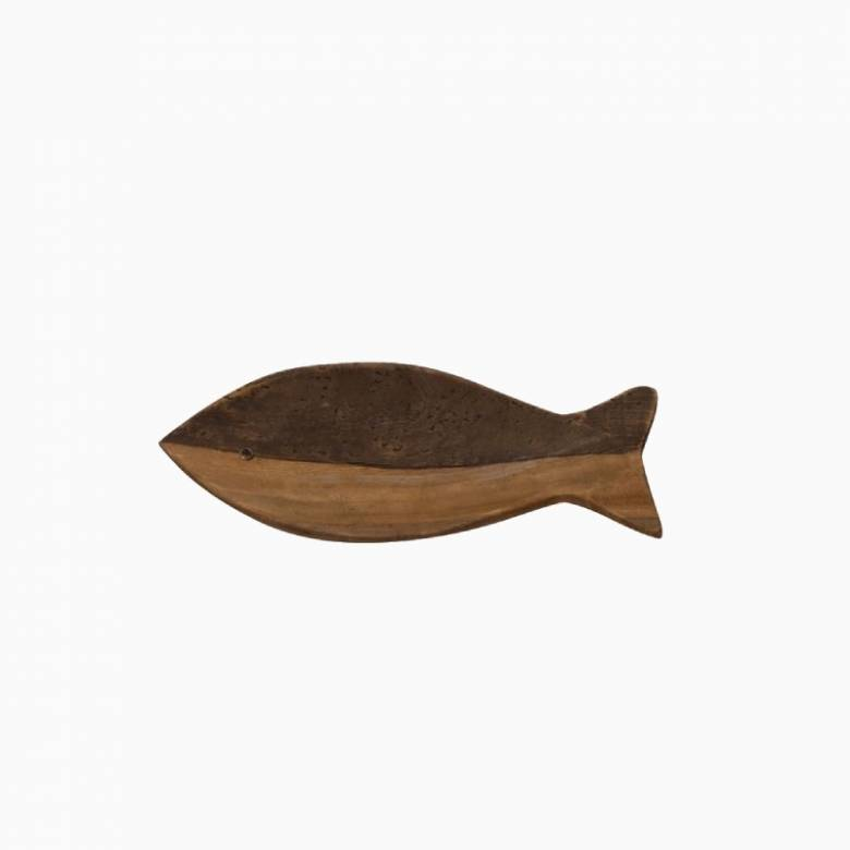 Two-Tone Wooden Fish Shaped Trinket Tray