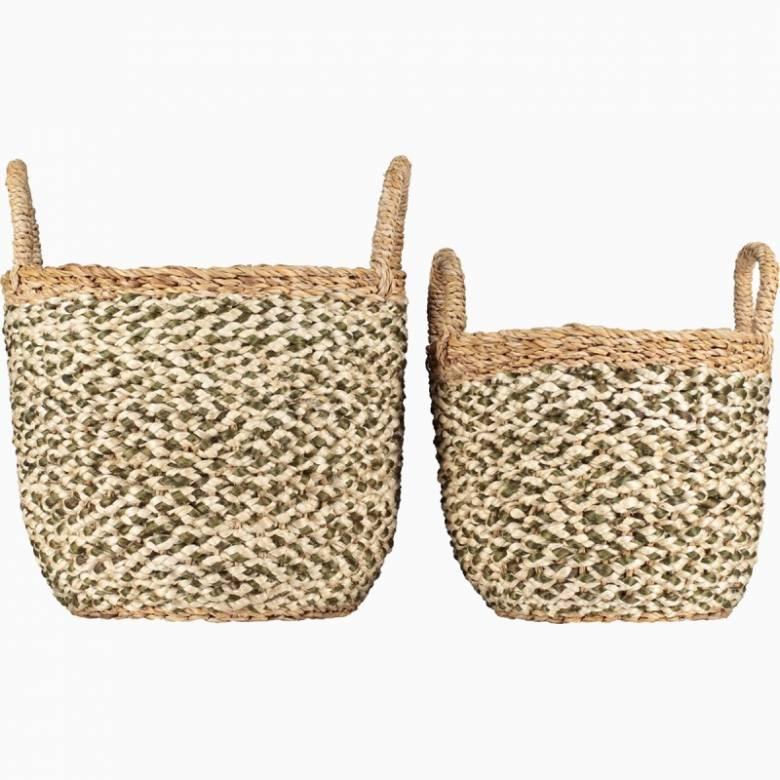 Large Village Basket Olive & Natural With Natural Handles 43x33