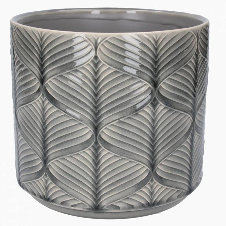 Large Wavy Ceramic Flower Pot Cover In Grey