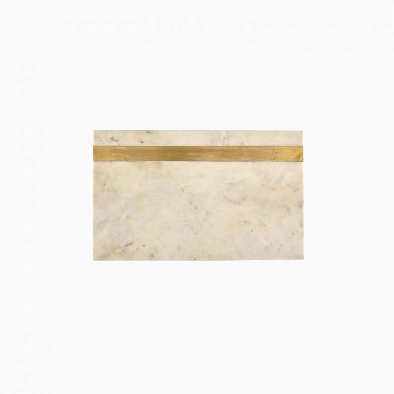 Large White Rectangular Marble Board With Brass Band