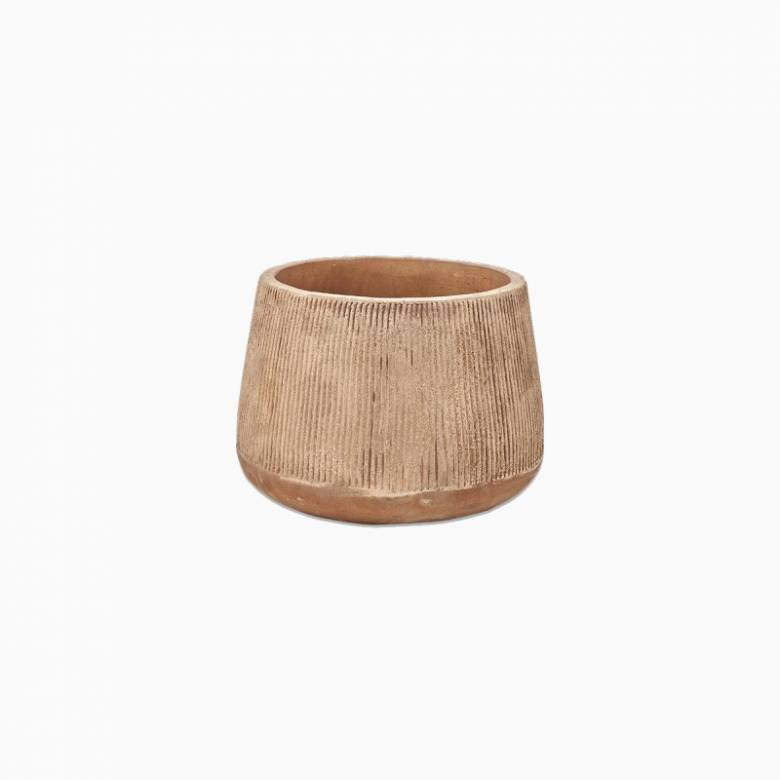 Large Wide Planter In Distressed Terracotta H: 24.5cm