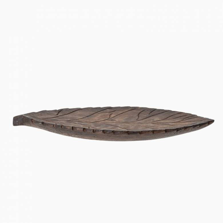 Large Wooden Carved Leaf Shaped Decorative Dish