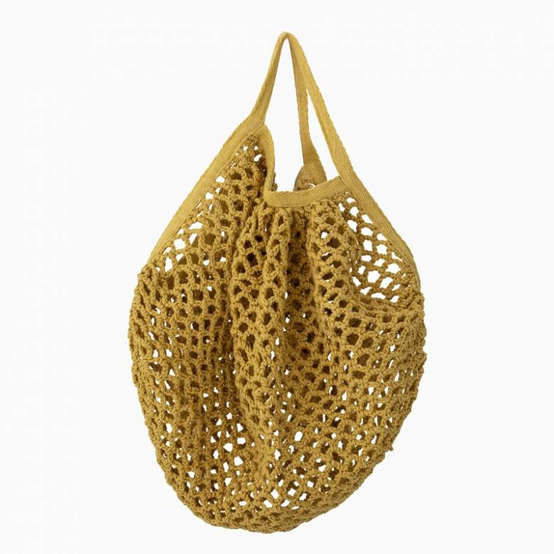 Mini Woven Cotton String Bag In Yellow