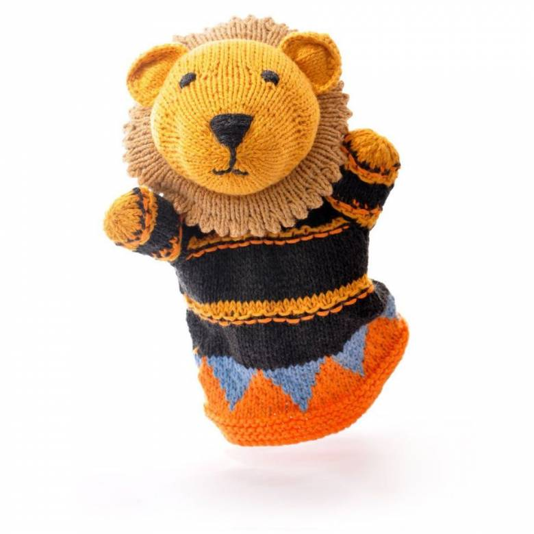 Lion - Hand Knitted Glove Puppet Organic Cotton