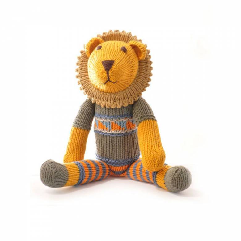 Lion In Grey Fairisle Hand Knitted Soft Toy Organic Cotton