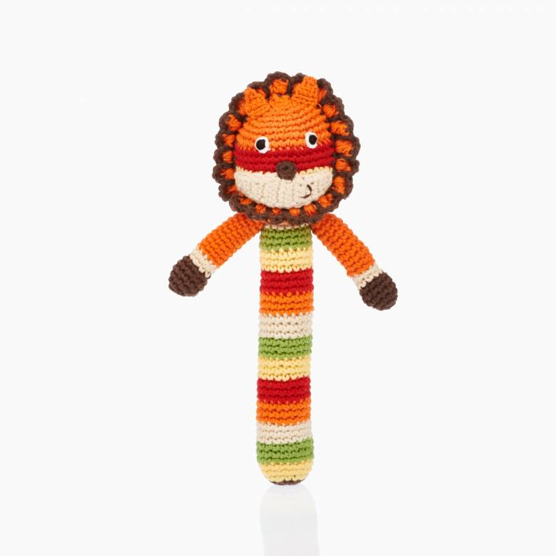 Crochet Lion Stick Rattle 0+