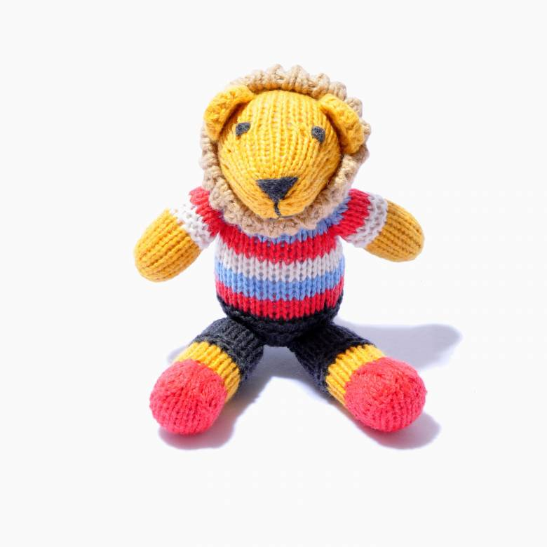 Lion In Stripe Top Hand Knitted Soft Toy Organic Cotton