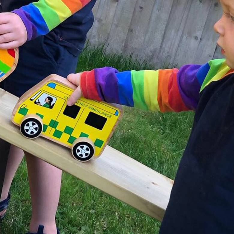 Little Wooden Ambulance Made From Natural Wood By Lanka Kade