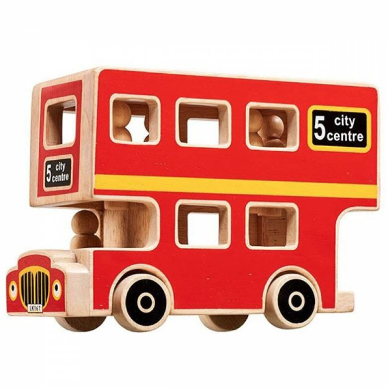 Natural Wooden London Bus With Wooden Figures By Lanka Kade 10m+