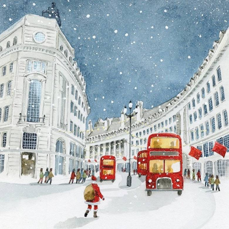 London Bus Scene - Pack Of 6 Christmas Cards By Art File